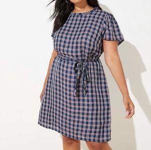 LOFT navy blue plaid ruffle neck tie waist dress